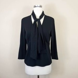DKNY Black Silk Tie Neck Blouse 4